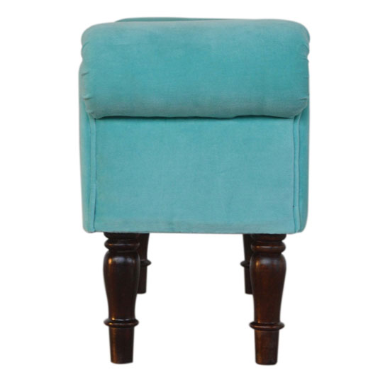Cassia Velvet Hallway Seating Bench In Turquoise_3