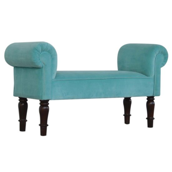 Cassia Velvet Hallway Seating Bench In Turquoise_1