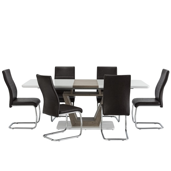 Cassie 6 Seater Extendable Dining Set In White Gloss And Oak