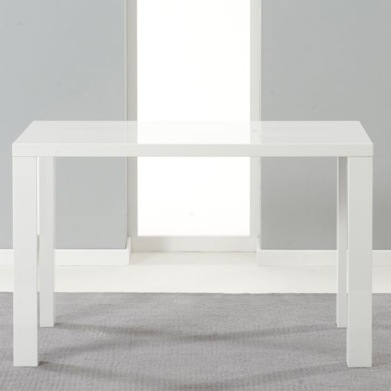 Cassioten Medium Wooden Dining Table In High Gloss White