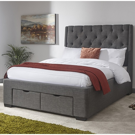 Castel Modern Double Bed In Grey Hopsack Fabric With 2 Drawers