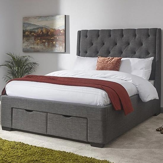 Castel King Size Bed In Grey Hopsack Fabric With 2 Drawers