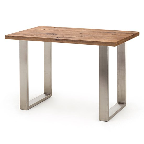 Castello Big Bar Table In Walnut Oak With Brushed Steel