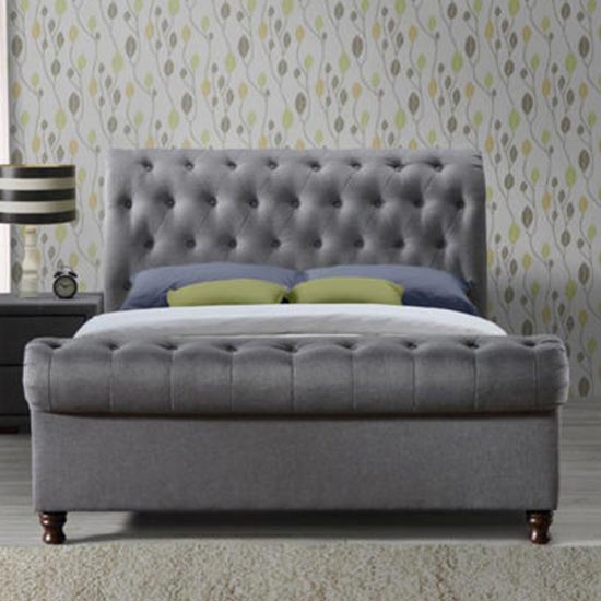 Castello Fabric King Size Bed In Grey