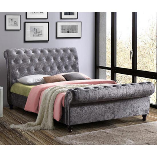 Castello Fabric King Size Bed In Steel Crushed Velvet