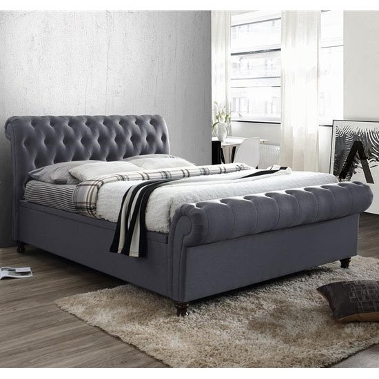 Castello Side Ottoman King Size Bed In Charcoal