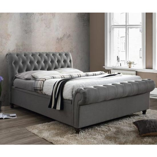 Castello Side Ottoman King Size Bed In Grey