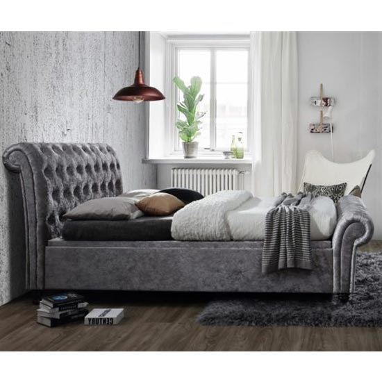Castello Side Ottoman King Size Bed In Steel Crushed Velvet