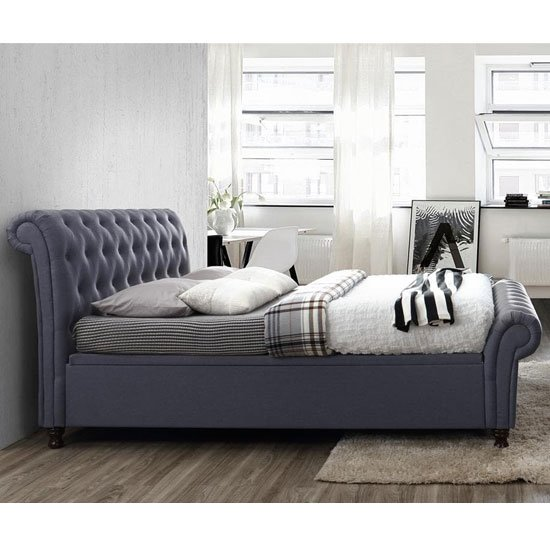 Castello Side Ottoman Super King Size Bed In Charcoal_2