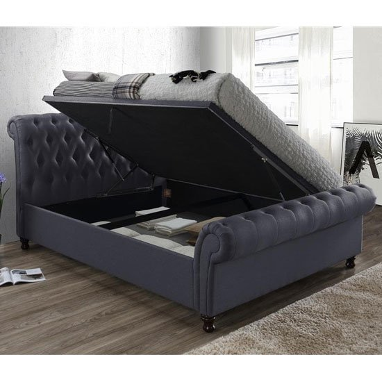 Castello Side Ottoman Super King Size Bed In Charcoal_3