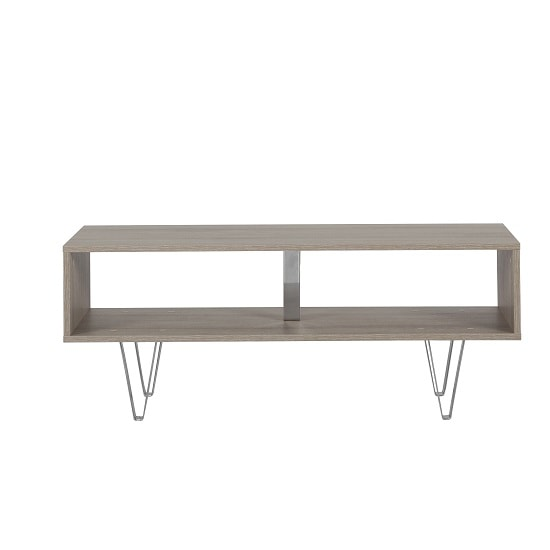 Castera Wooden Coffee Table Rectangular In Oak With Chrome