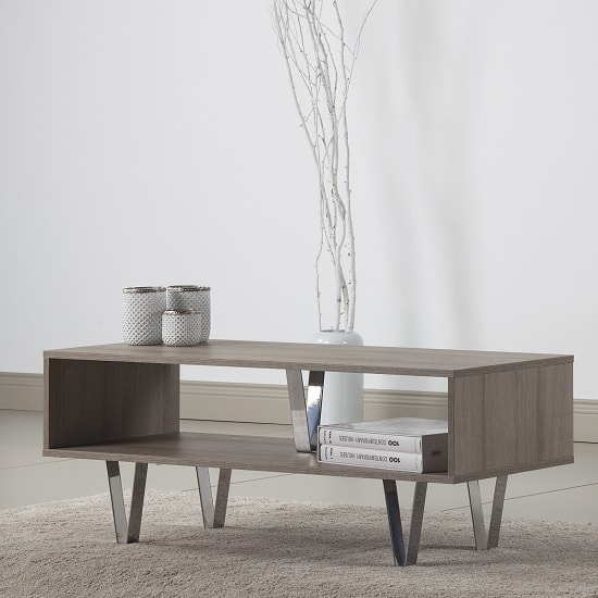 Castera Wooden Coffee Table Rectangular In Oak With Chrome Feet