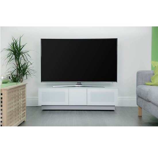 Castle LCD TV Stand In White With Two Glass Door_1