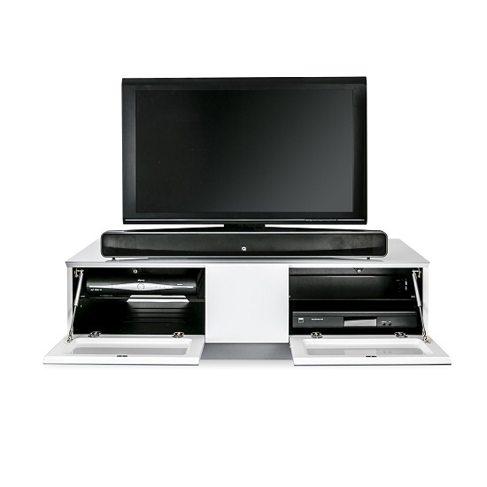 Castle LCD TV Stand In White With Two Glass Door_2