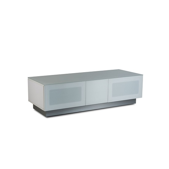 Castle LCD TV Stand In White With Two Glass Door_3