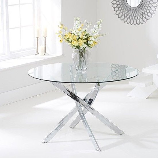 Castola Round Small Glass Dining Table With Chrome Legs