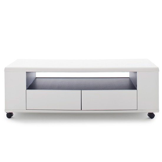 Catelyn TV Stand in Matt White And Anthracite With Castors_3