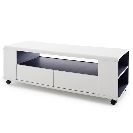 Catelyn TV Stand in Matt White And Anthracite With Castors_4