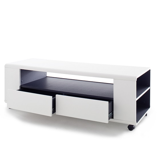 Catelyn TV Stand in Matt White And Anthracite With Castors_2