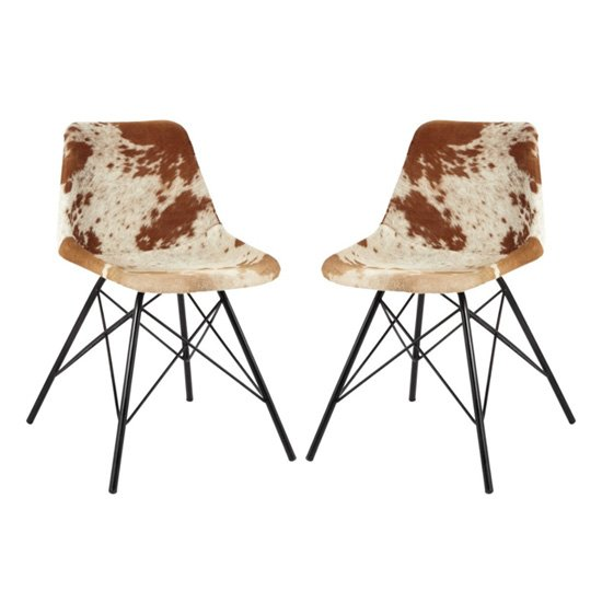 Catila Cowhide Faux Leather Dining Chairs In Pair