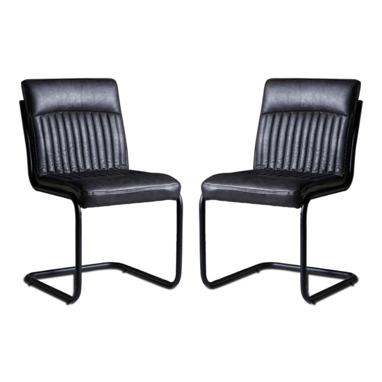 Catila Grey Faux Leather Dining Chairs In Pair
