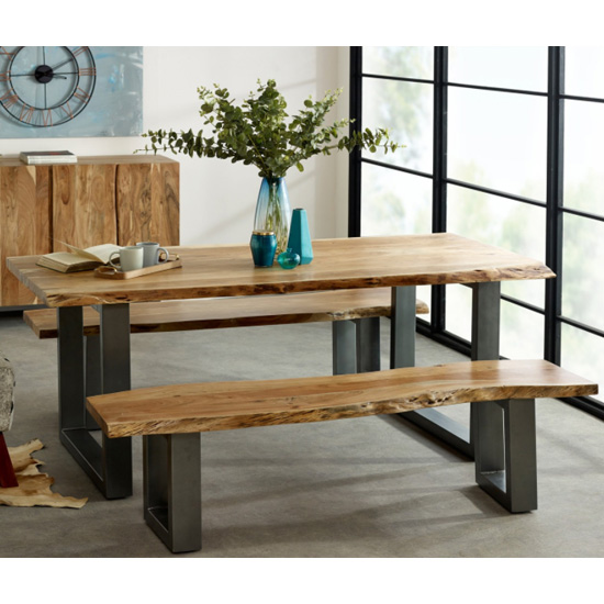 View Catila live edge large dining table in oak with 2 benches