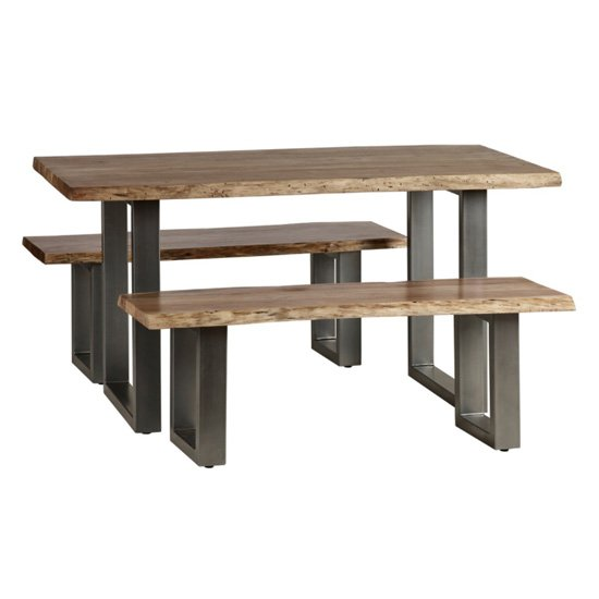 Catila Live Edge Medium Dining Table In Oak With 2 Benches