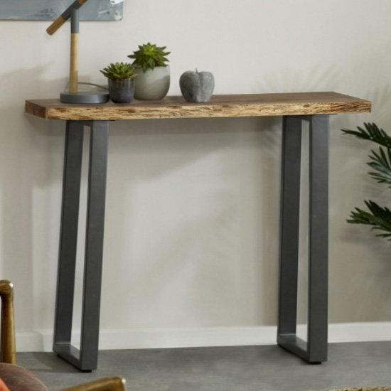 Catila Live Edge Wooden Console Table In Oak