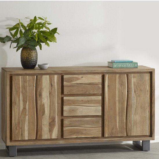 Catila Live Edge Wooden Sideboard In Oak With 2 Doors 3 Drawers_1
