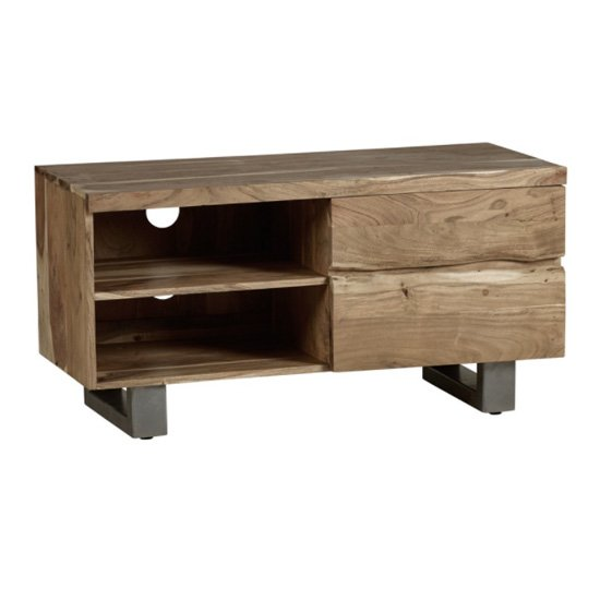 Catila Live Edge Wooden TV Stand In Oak With 2 Drawes