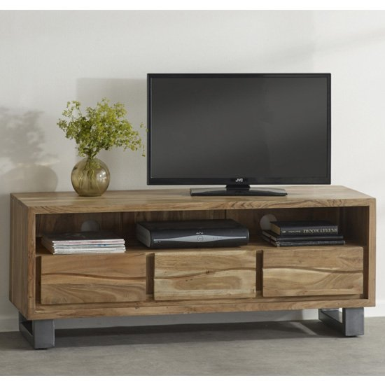 Catila Live Edge Wooden TV Stand In Oak With 3 Drawes