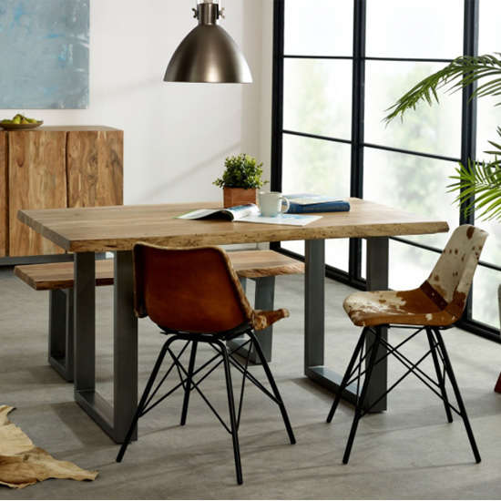 View Catila medium dining table in oak 2 cowhide chair and bench
