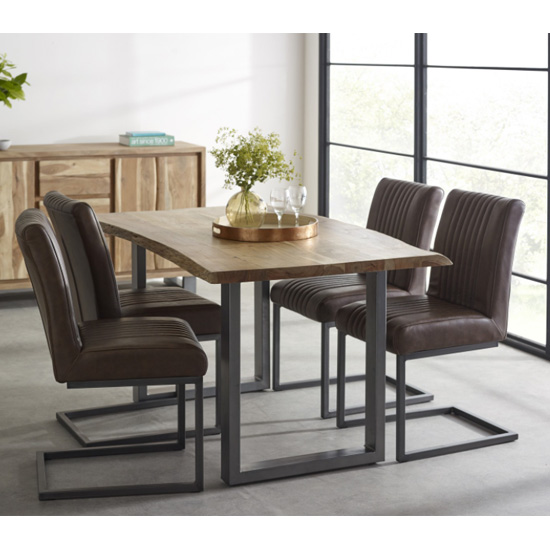 Catila Medium Dining Table In Oak With 4 Dark Brown Chairs