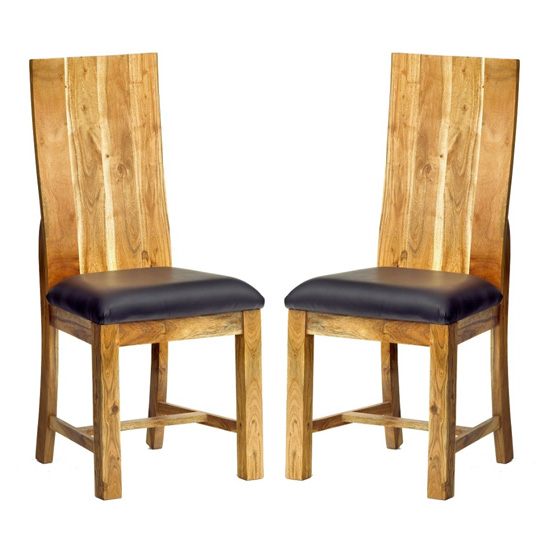 Metapoly Oak Wooden Dining Chairs In Pair