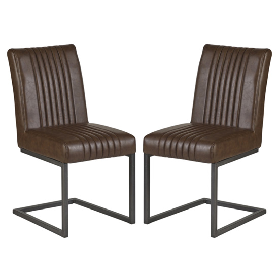 Catila Dark Brown Faux Leather Dining Chairs In Pair