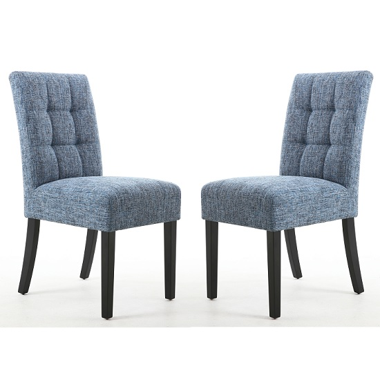 Catria Dining Chair In Oxford Blue With Black Legs In A Pair