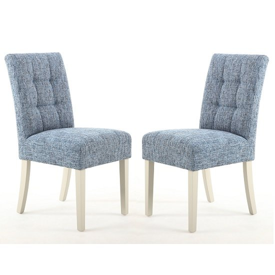 Catria Dining Chair In Oxford Blue With Cream Legs In A Pair