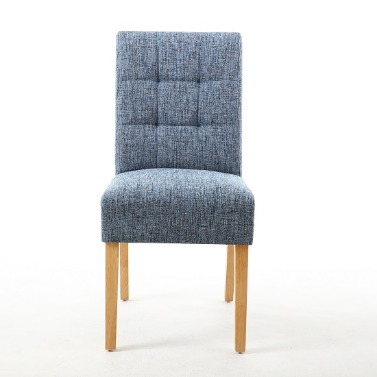 Catria Dining Chair In Oxford Blue With Brown Legs In A Pair_2