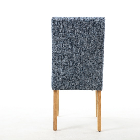Catria Dining Chair In Oxford Blue With Brown Legs In A Pair_3