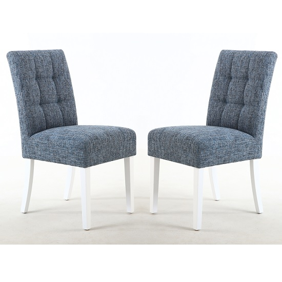Catria Dining Chair In Oxford Blue With White Legs In A Pair