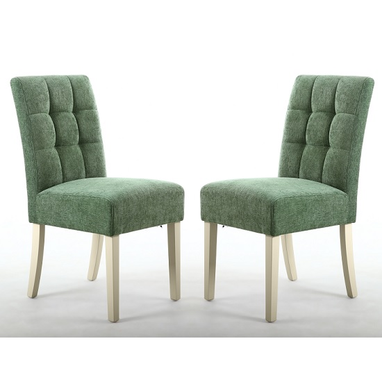 Catria Dining Chair In Olive Green With Cream Legs In A Pair