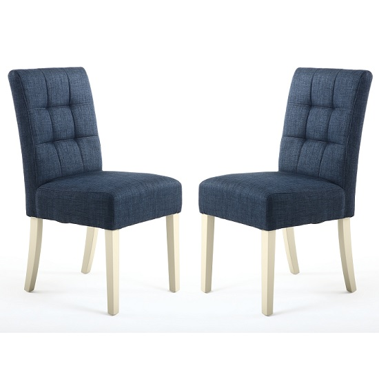 Catria Dining Chair In Polo Blue With Cream Legs In A Pair