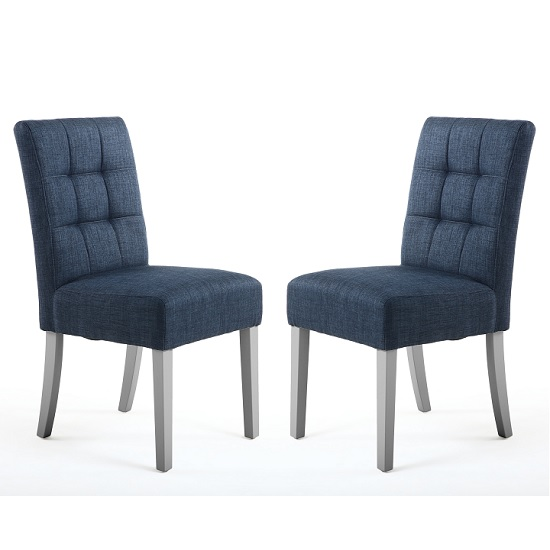 Catria Dining Chair In Polo Blue With Grey Legs In A Pair