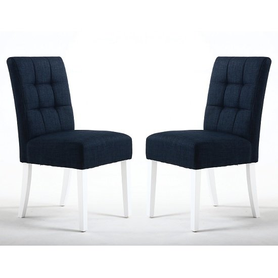 Catria Dining Chair In Polo Blue With White Legs In A Pair