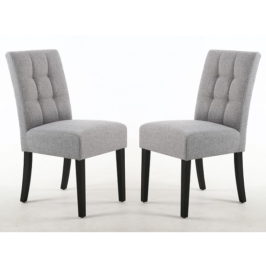 Catria Dining Chair Silver Grey And Black legs In A Pair