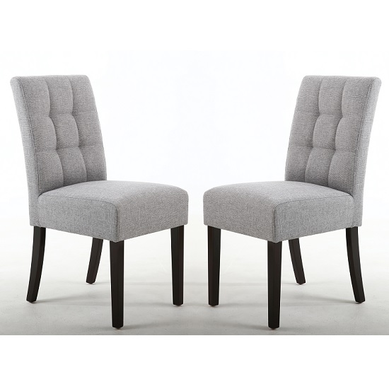 Catria Dining Chair Silver Grey With Brown legs In A Pair
