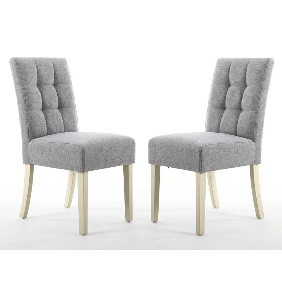 Catria Dining Chair Silver Grey And Cream legs In A Pair