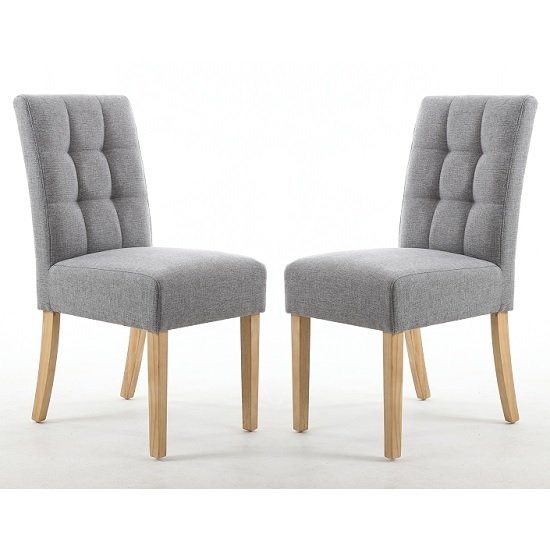 Catria Dining Chair Silver Grey With Natural legs In A Pair