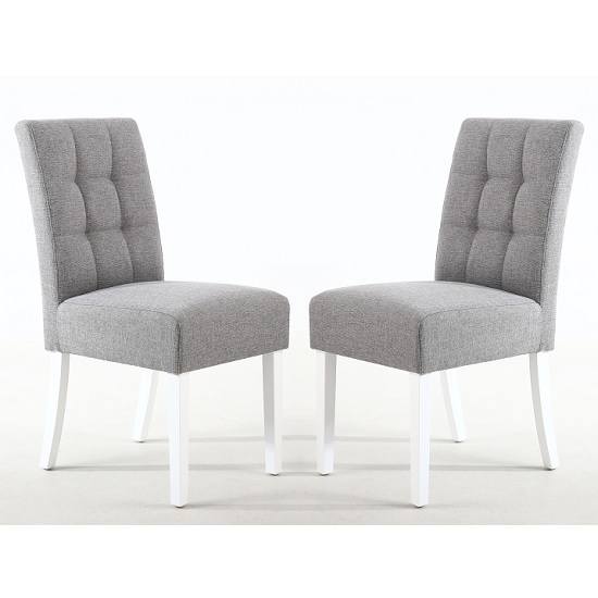 Catria Dining Chair Silver Grey With White legs In A Pair