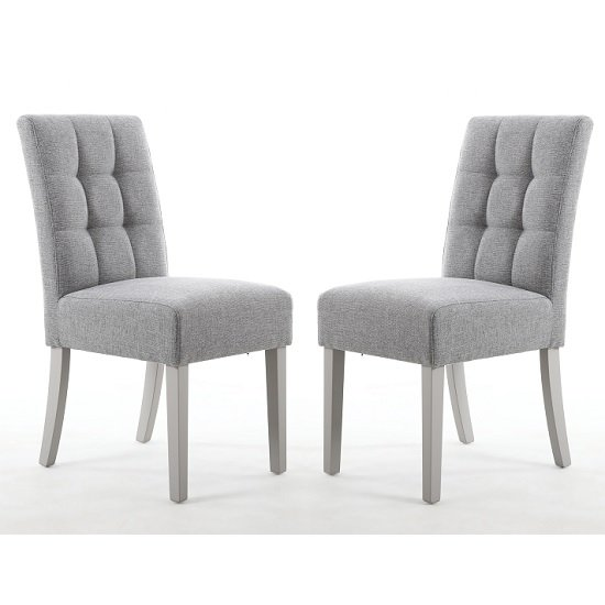 Catria Dining Chair Silver Grey With Grey legs In A Pair